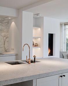 Gorgeous modern kitchen with fireplace - cooking - # kitchen . - Gorgeous modern kitchen with fireplace – cooking – - Home Decor Kitchen, Interior Design Kitchen, Modern Interior Design, Kitchen Ideas, Kitchen Inspiration, Kitchen Layout, Stylish Interior, Decorating Kitchen, Kitchen Pictures