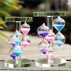 Tricolor Crystal Sandglass Sand Glass Hourglass Timer Clock Decor Unique Gift #UnbrandGeneric