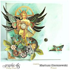 Mixed Media canvas created by Mariusz Gierszewski, Graphic45, Steampunk Debutante collection