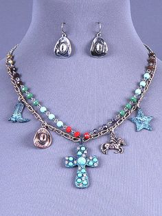 Cowgirl Bling Ranch, LLC - Western Charm Patina Cross Necklace and Earring Set, $13.99 (http://www.cowgirlblingranch.com/western-charm-patina-cross-necklace-and-earring-set/)