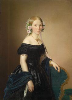 Joseph Weidner — Portrait of a Lady with Roses in Her Hair, 1854 Historical Women, Historical Clothing, Fashion Art, Fashion Show, Vintage Fashion, Fashion Portraits, Turbans, 1850s Fashion, 19th Century Fashion