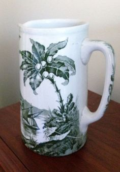 William Bennett (Hanley) Pottery, Green Transferware Nile Pattern Pitcher  #ArtDeco #WilliamBennettHanley