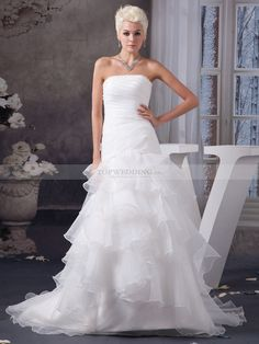 Racquel - Strapless Ruffled Organza Wedding Gown with Beaded Neckline