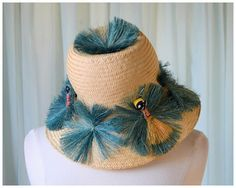 vintage 60s STRAW bucket Hat w/ painted black doll blue grass