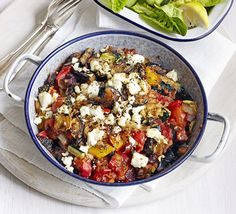 Make a batch of our healthy veg mix, then serve three ways- with feta, as pictured, with jacket potatoes, or in stuffed peppers