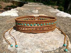 Forever Young - macrame necklace / choker with howlite turquoise beads Beaded Cuff Bracelet, Macrame Necklace, Macrame Jewelry, Macrame Bracelets, Macrame Headband, Collar Macrame, Diy Bracelets Patterns, Friendship Bracelet Patterns, Micro Macramé