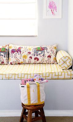 Love pattern for bench cushion. small shop big girl room, cute bohemian, window seat, artwork, John Robshaw, Celerie Kemble (photo by @Sabra McKibbon McKibbon McKibbon McKibbon Lattos)