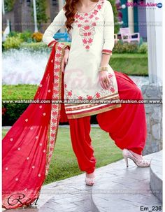 Give yourself a stylish & punjabi look with this Adorable White And Red Embroidered Salwar Suit. Embellished with Embroidery work and lace work. Available with matching bottom & dupatta. It will make you noticable in special gathering. You can design this suit in any color combination or in any fabric. Just whatsapp us for more details.  For more details whatsapp us: +919915178418