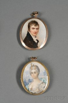 Two Portrait Miniatures on Ivory, England/France, comprising an early Auction, Miniatures, Miniature Portraits, Art, 19th Century, Portrait