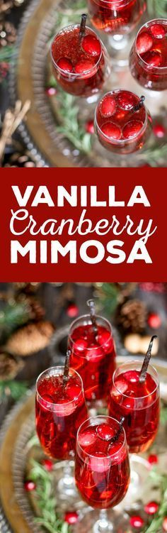 This vanilla cranberry mimosa cocktail is perfect for winter brunches, Christmas and holidays, and New Years Eve parties. This drink recipe only requires 3 ingredients and is very easy to make. Party Drinks, Cocktail Drinks, Fun Drinks, Yummy Drinks, Cocktail Recipes, Alcoholic Drinks, Drink Recipes, Beverages, Cocktail Ideas