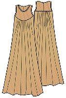 Pattern dress in full floor for women sizes 56, 58, 60, 62, 64, 66