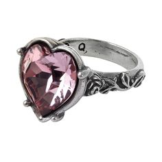 Alchemy Gothic Bower Troth Pink Heart & Snakes Serpants Ring Betokening the lady's special, hidden sanctuary where she may enchant, charm and engage the object of her desires, in a heartfelt pledge of