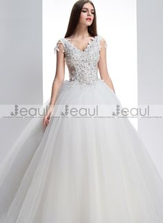 Ball Gown V-neck Straps Floor-length Wedding Dress