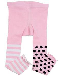 Pink & Black Polka Stripe Footless Tights