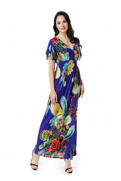 Zadaland Women's Summer Dresses Floral Long Maxi Dress Plus Size ...