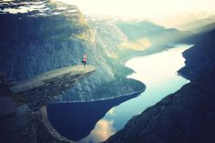 Trolltunga (Troll's tongue) is a piece of rock jutting horizontally out of a mountain about 700 metres (2,300 ft) above Lake Ringedalsvatnet in Norway.