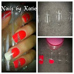 Red With Silver Stripe Acrylic Made Dual Forms Nail Gel Nails