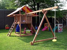 swing set idea, round swing on end Kids Backyard Playground, Backyard For Kids, Backyard Projects, Kids Outdoor Play, Kids Play Area, Swing Set Plans, Cedar Swing Sets, Kids Playhouse Plans, Outdoor Play Structures