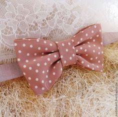 Галстук бабочка Бэмби - бежевый,в горошек,галстук,галстук бабочка,галстук-бабочка