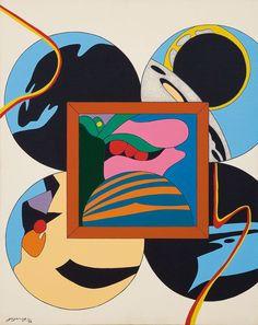 Go Yayanagi (Japanese, b. 1933), Cosmic Space 2, 1974. Oil and liquitex (acrylic) on canvas, 91 x 73cm.
