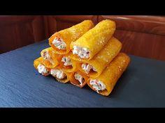 Ρολά cheddar με μπέικον και πιπεριές!! - YouTube Carrots, Sausage, Meat, Vegetables, Appliques, Youtube, Recipes, Nice, Amor