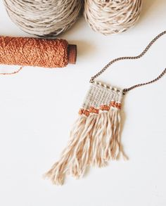 Items similar to woven necklace in peach // fiber necklace // mini tapestry on Etsy Fiber Art Jewelry, Textile Jewelry, Macrame Jewelry, Fabric Jewelry, Jewelry Art, Jewellery, Geode Jewelry, Macrame Necklace, Jewelry Ideas