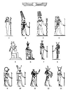 tumblr: 1)Ptah 2)Ra Amen 3)Thoth  4)Seker  5)Osiris  6)Isis & Horus  7) Nephtys  8)Hathor  9)Ra/Falcon 10)Horus/Falcon 11)Seth/Ass 12) Thoth/Ibis 13)Hathor/Cow