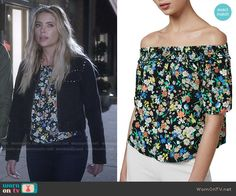 Hanna's floral top and studded black jacket on Pretty Little Liars.  Outfit…