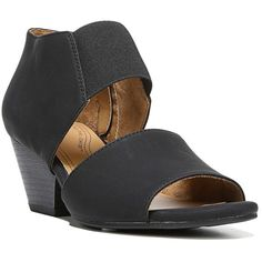 NaturalSoul by naturalizer Dylan Women's Wedge Sandals ($65) ❤ liked on Polyvore featuring shoes, sandals, black, wide width wedge sandals, black sandals, wide width sandals, arch support sandals and black wedge heel sandals