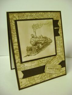 This card reminds me of my dad.  Stampin' Studio, Stampin' Up! Traveler, That's the Ticket, World Map