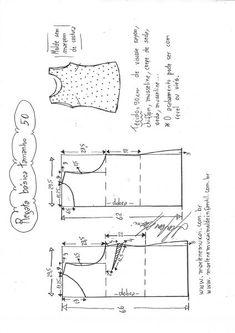 Regata Básica Regata Básica - DIY - molde, corte e costura - Marlene Mukai<br> Visite o post para mais. T Shirt Sewing Pattern, Dress Sewing Patterns, Blouse Patterns, Clothing Patterns, Sewing Collars, Japanese Sewing Patterns, Sewing Blouses, Diy Tops, Fashion Sewing