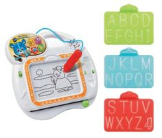 VTech Tote and Trace Learning Board by V Tech. $16.99. From the Manufacturer                A fun, portable magnetic drawing board. Features our cute bear character to help encourage and guide the child along. Includes 3 soft plastic drawing stencils that allow the child to practice writing letters. The board recognizes the letter that is being traced and will voice out the letter name and letter sound. Features 4 different modes of play: 1) MUSICAL Drawing: Draw along to the m...