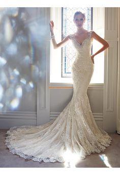 V-auschnitt Trendige Schicke Brautkleider aus Softnetz mit Applikation