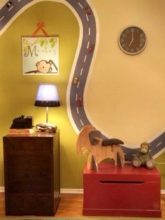 Boys room idea ! Do the road with magnetic paint...this is AWESOME: