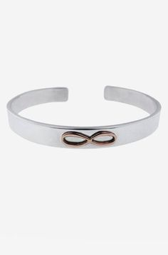 Wide Cuff Bracelet - Silver with Gold Infinity Symbol