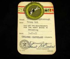 BOY SCOUTS VINTAGE 1957 SWIMMING MERIT BADGE ON CARD