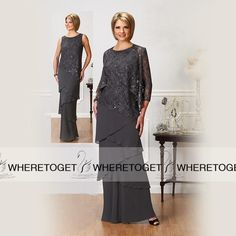 Custom Made Gray Chiffon Long Sleeve Mother Of The Groom Dresses Ankle Length Vintage Lace Tiers With Jacket Mother Of Bride Party Gowns Mother Of The Bride Fashion, Mother Of The Bride Gown, Mother Of Groom Dresses, Mothers Dresses, Formal Dresses With Sleeves, Mob Dresses, Tea Length Dresses, Dresses 2016, Bride Dresses
