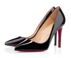 Buy cheap Christian Louboutin Pigalle 100mm Black Patent Pointed Toe Pumps on sale online in www.buyheelshoes.com