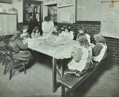 Needlework class at Hugh Myddleton School for the Deaf in London, 1911