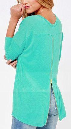 pretty blue zipper detail sweatshirt
