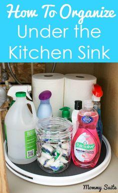 Under Kitchen Sink Organization Hack - Getting Organized - 50 Easy DIY organization Ideas To Help Get Organized Under Kitchen Sink Organization, Under Kitchen Sinks, Kitchen Sink Faucets, Bathroom Storage, Organization Hacks, Kitchen Storage, Organizing Ideas, Kitchen Hacks, Kitchen Ideas