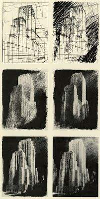 Beyond Architectural Illustration: Inspiration - Hugh Ferriss Architecture Blueprints, Architecture Drawings, Futuristic Architecture, Classical Architecture, Architecture Artists, Environment Painting, Interior Design Sketches, Art Deco, A Level Art