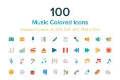100 Music Colored Icons by Creative Stall on @creativemarket