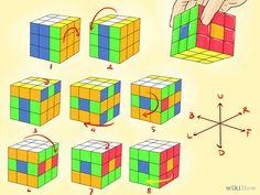 Gambar berjudul Make Awesome Rubik's Cube Patterns Step 7 Rubiks Cube Patterns, Solving A Rubix Cube, Rubiks Cube Algorithms, Science Tricks, Math Poster, Rubik's Cube, Cube Puzzle, Hobbies And Crafts, Boy Room