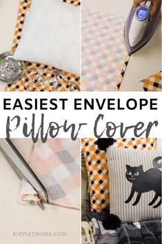 Envelope pillow covers and Cat pillow with pom poms. Easy pillow making perfect for beginners. Learn how to sew envelope pillow covers, step-by-step instructions. Diy pillow covers for easy seasonal decorating. #sew #fabric #color #homedecor #sewingtutorials #diydecor #kippiathome