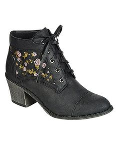 Oh so cute in black too!!! Black Rose Leighton Ankle Boot by Liliana Footwear on #zulily today!