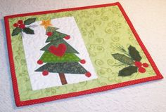 Quilted Dancing Tree Applique Mug Rug