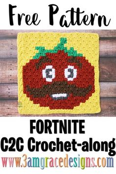 Our free Fortnite Tomatohead crochet pattern & tutorial allows you to create a graphgan blanket based on the popular Fortnite video game! Kawaii Crochet, C2c Crochet, Crochet Pillow, Crochet Videos, Crochet Squares, Crochet Blanket Patterns, Love Crochet, Crochet Crafts, Crochet Projects