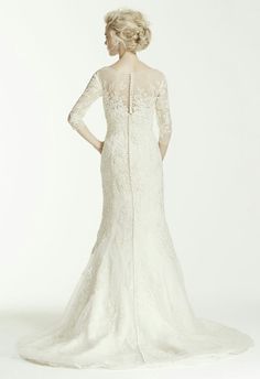 Oleg Cassini Collection for David's Bridal; Lace Trumpet Silhouette Wedding Gown Featuring 3/4 Length Illusion Sleeves