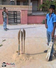 Galli Cricket Indian Style Funny  [ More Funny Indian Pics: http://www.picsgag.com/funny-indian-pictures/ ]